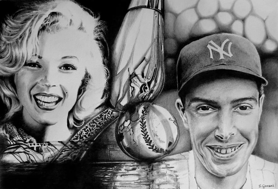 Marilyn Monroe Drawing - Monroe and DiMaggio by Geni Gorani