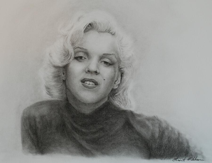Marilyn Monroe Drawing - Monroe by Brent  Mileham