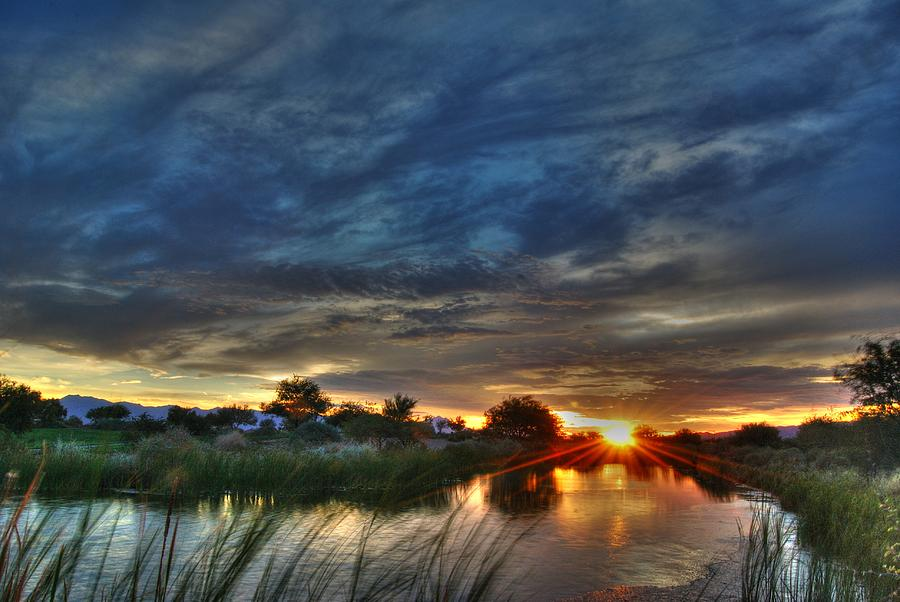 Pond Photograph - Monsoon Sunset by Tam Ryan