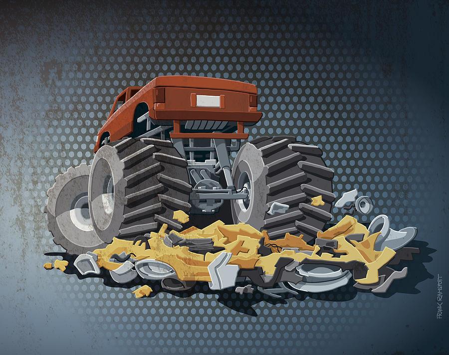Monster Truck Digital Art - Monster Truck Grunge Color by Frank Ramspott
