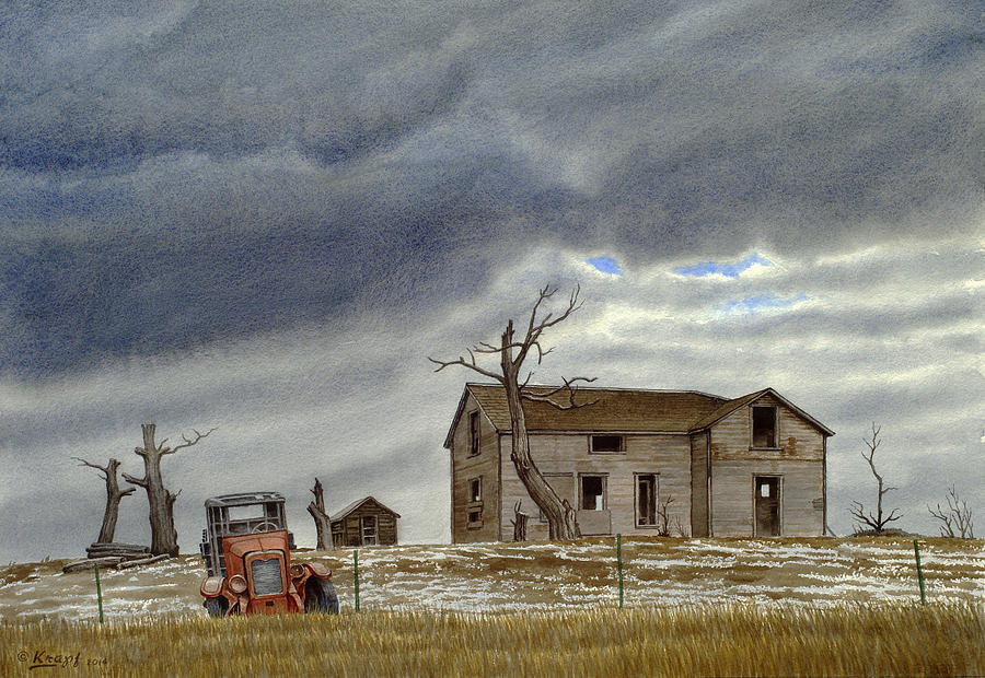 Abandoned House Painting - Montana Abandoned Homestead by Paul Krapf