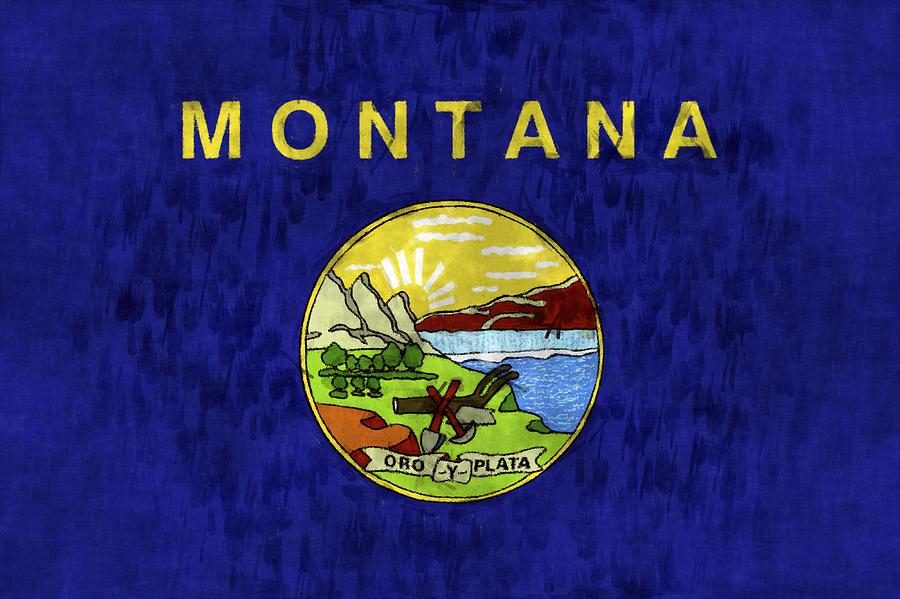 Montana Digital Art - Montana Flag by World Art Prints And Designs