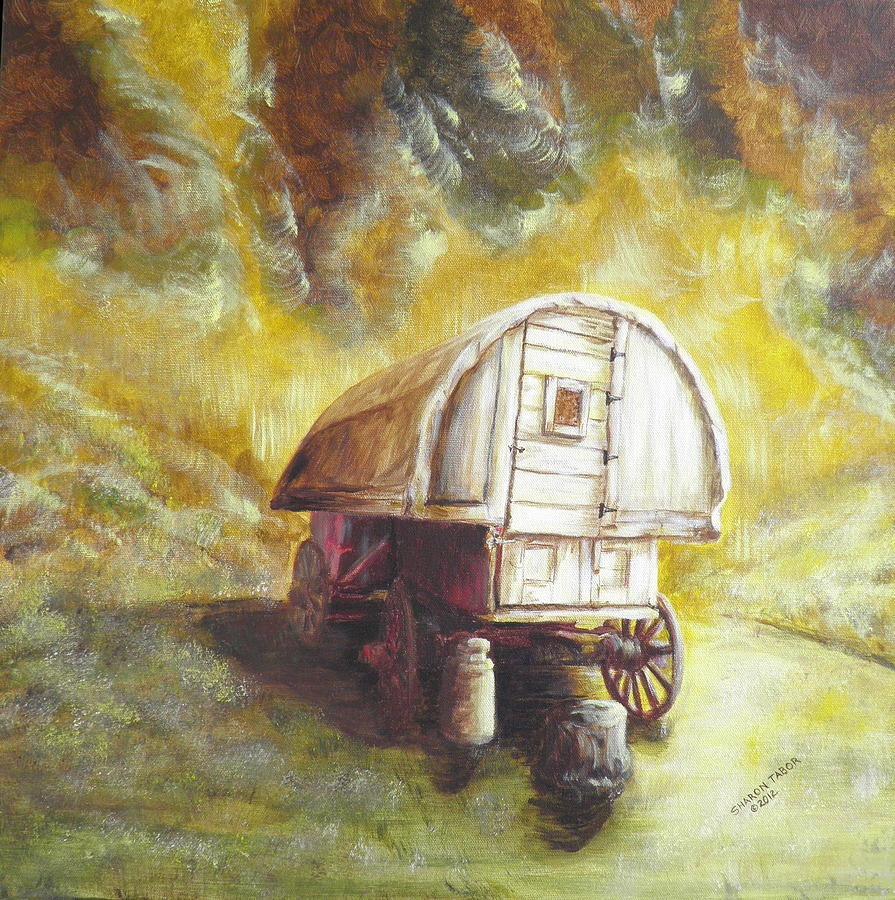 Professional Guaranteed House Painting Western Springs: Montana Sheep Wagon Painting By Sharon Tabor