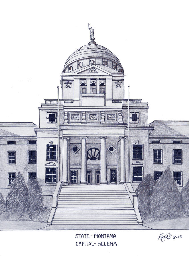 Montana State Capitol Drawing by Frederic Kohli