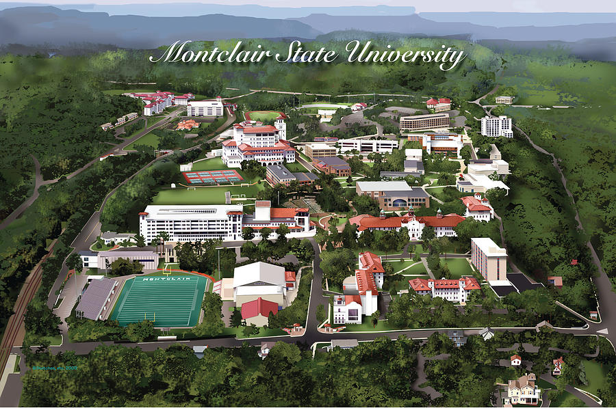 Montclair State University Drawing - Montclair State University by Rhett and Sherry  Erb