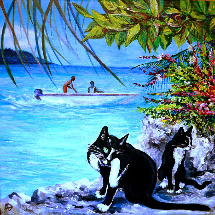 Cat Painting - Montego Bay. Part One by Anna  Duyunova