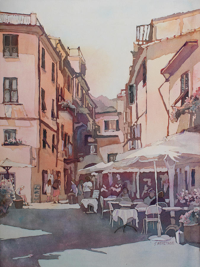 Montorosso Painting - Monterosso Cafe by Jenny Armitage