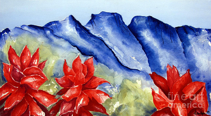 Mountains Painting - Monterrey Mountains With Red Floral by Kandyce Waltensperger