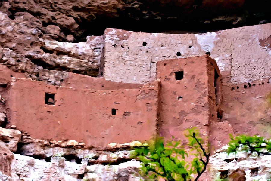 Montezuma Castle Painting - Montezuma Castle  by Bob and Nadine Johnston