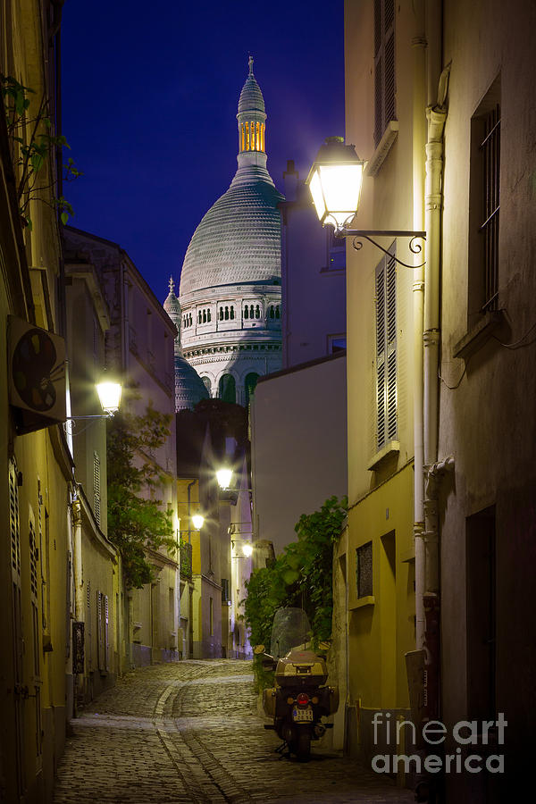 Christianity Photograph - Montmartre Street And Sacre Coeur by Inge Johnsson