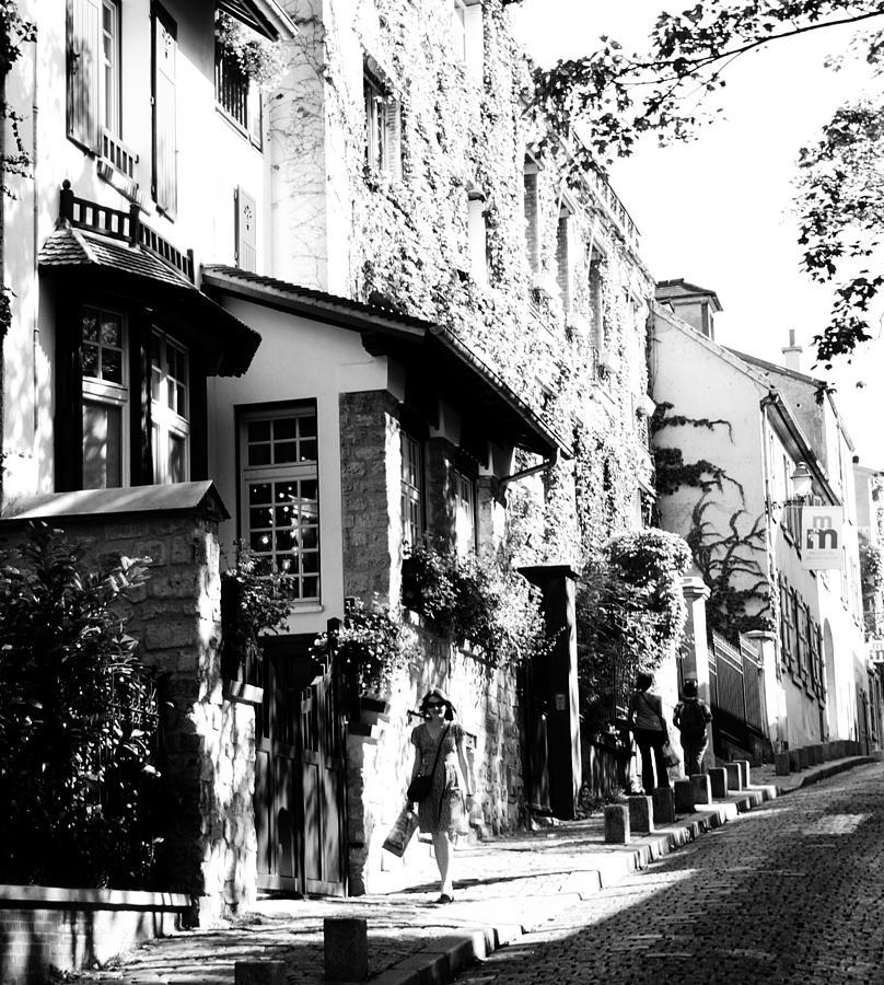 Montmartre Walk Vert Bw Photograph by Jacqueline M Lewis