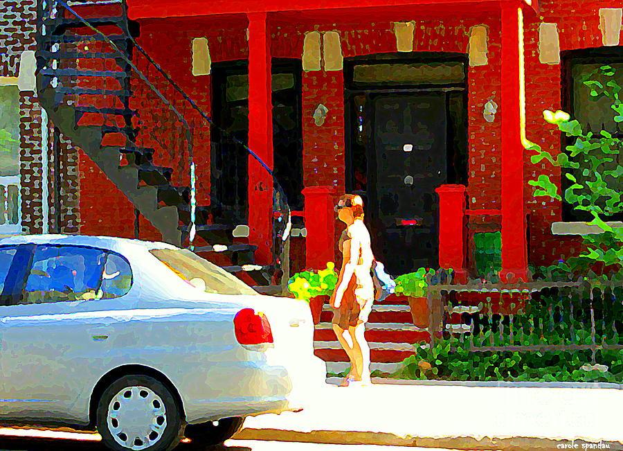Montreal Painting - Montreal Art Summer Stroll On A Sunny Morning Colorful Street Verdun City Scene Carole Spandau by Carole Spandau