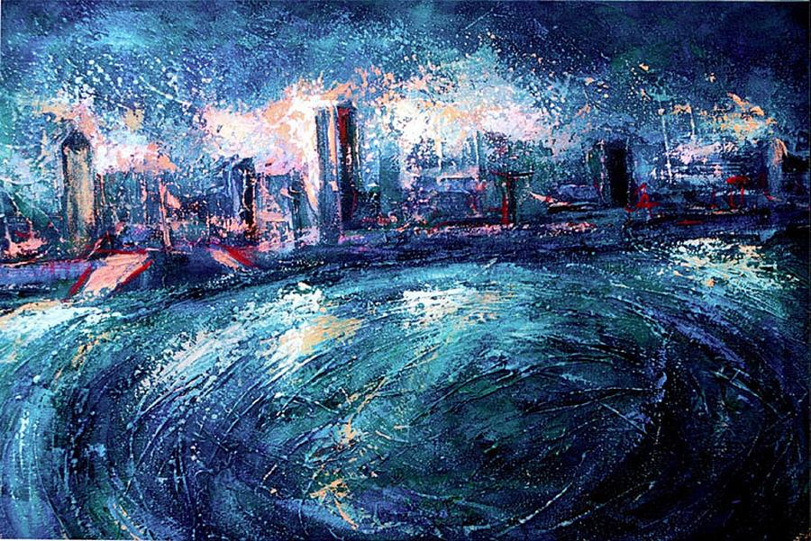 Montreal At Night Painting