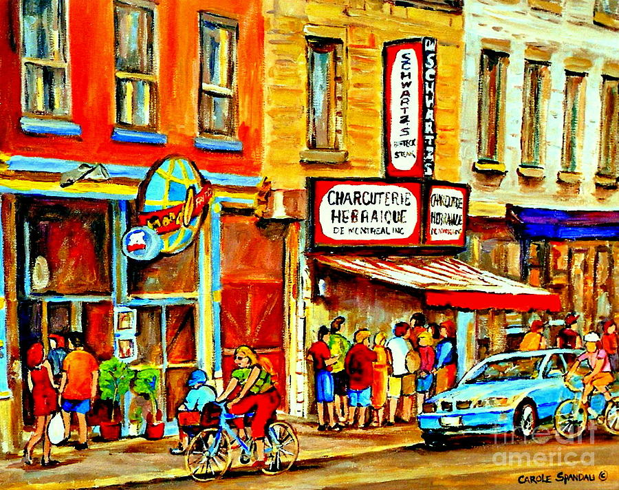 Montreal Painting - Montreal Bike Path Reserved Lane Cyclists Drive By Schwartzs Deli  Line-up Montreal Paintings by Carole Spandau