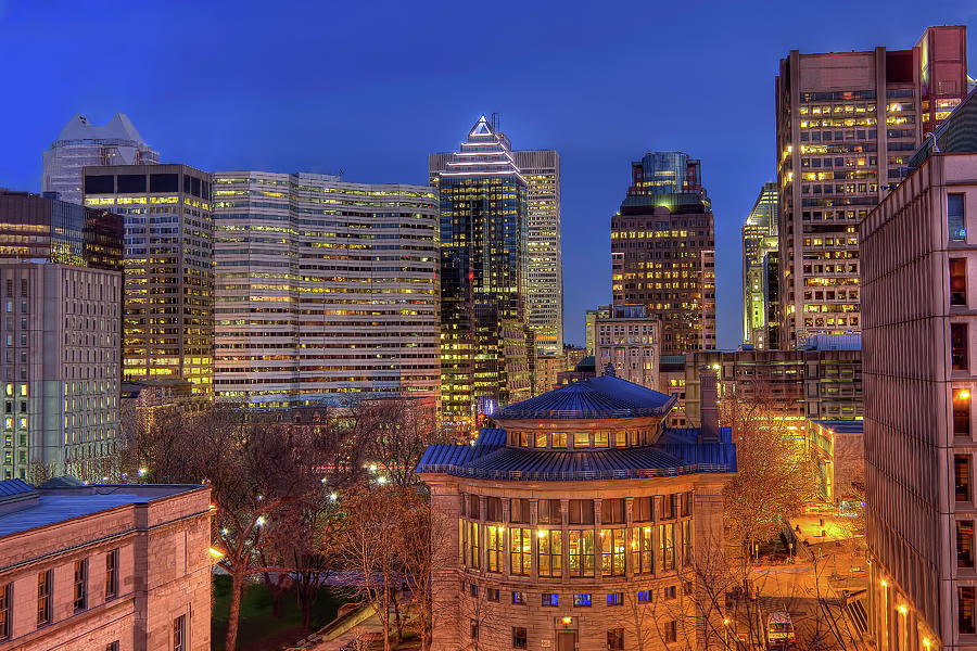 Montreal Downtown At Dusk Hdr II Photograph by Jean Surprenant