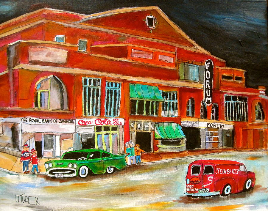 Montreal Forum Painting - Montreal Forum 1960 by Michael Litvack