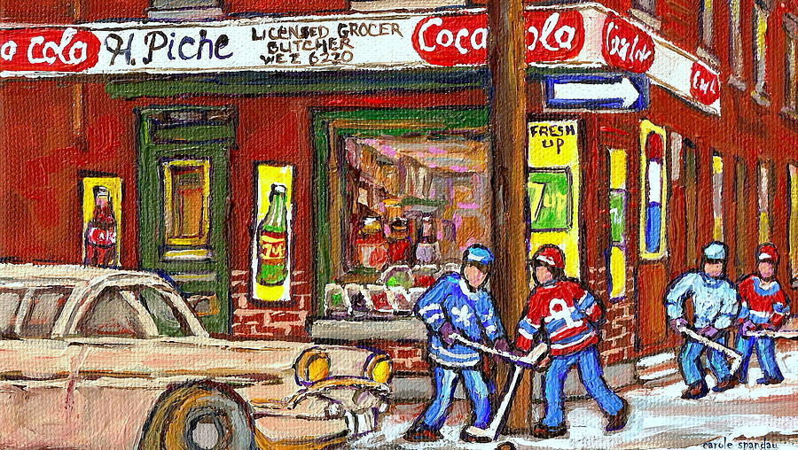 Montreal Street Scenes Painting - Montreal Hockey Paintings At The Corner Depanneur - Piches Grocery Goosevillage Psc Griffintown  by Carole Spandau