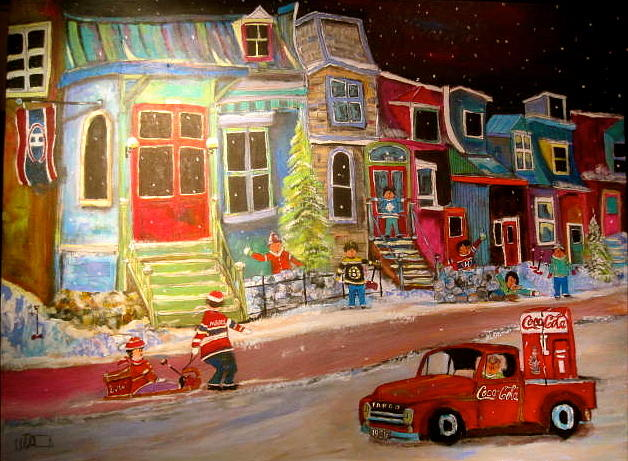 1951 Fargo Truck Painting - Montreal Memories Of Street Of Icons by Michael Litvack