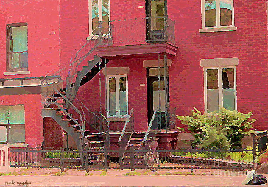 Montreal Painting - Montreal Memories The Old Neighborhood Timeless Triplex With Spiral Staircase City Scene C Spandau  by Carole Spandau