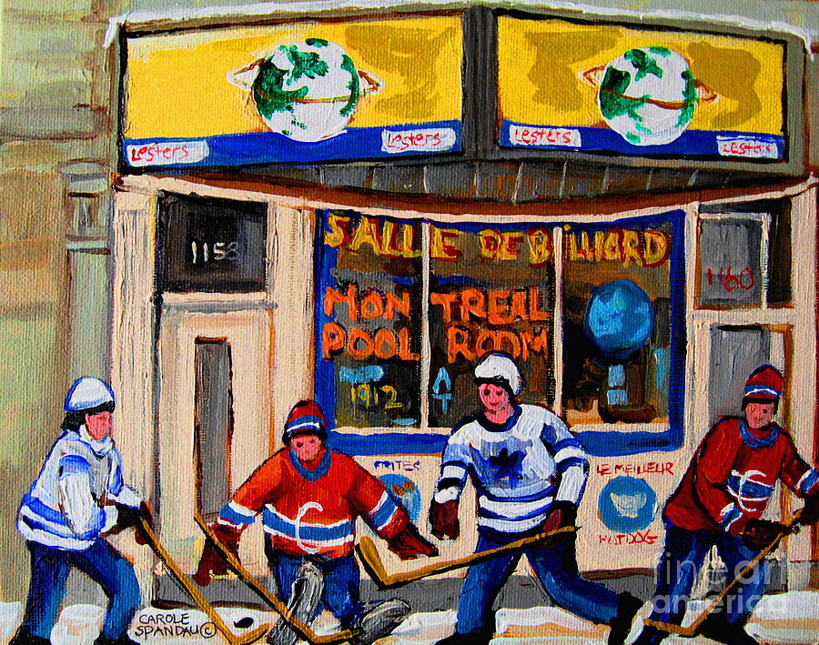 Montreal Painting - Montreal Pool Room City Scene With Hockey by Carole Spandau