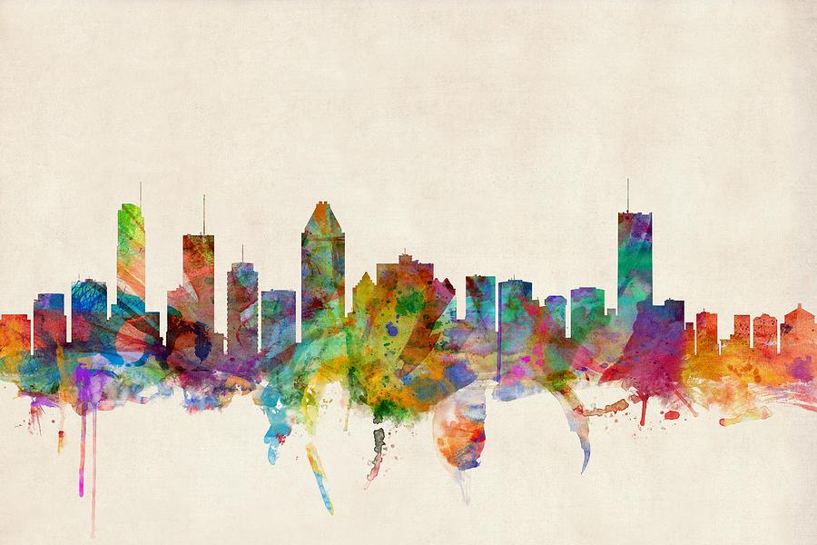 Montreal Skyline Digital Art By Michael Tompsett