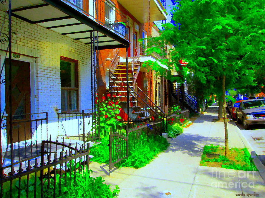 Montreal Painting - Montreal Stairs Shady Streets Winding Staircases In Balconville Art Of Verdun Scenes Carole Spandau by Carole Spandau