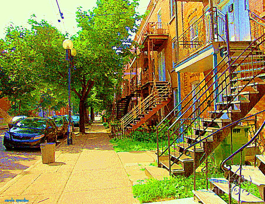Montreal Painting - Montreal Stairs Winding Staircases And Sunny Tree Lined Sidewalks Verdun Scenes Carole Spandau  by Carole Spandau