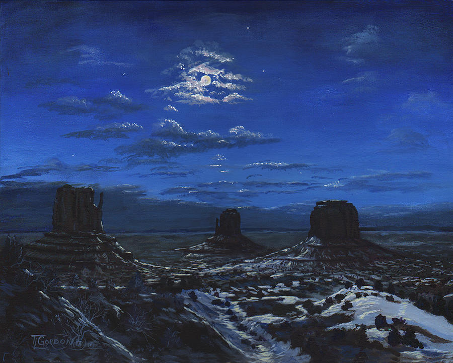Tim Gordon Painting - Monument Valley By Moon Light by Timithy L Gordon