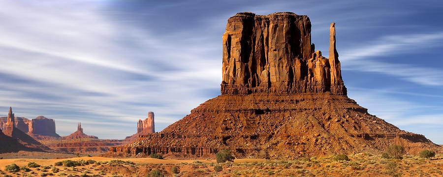 Desert Scene Photograph - Monument Valley -  Left Mitten by Mike McGlothlen