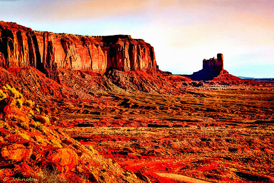 Adams Photograph - Monument Valley Sunset By Bob Johnston by Bob and Nadine Johnston