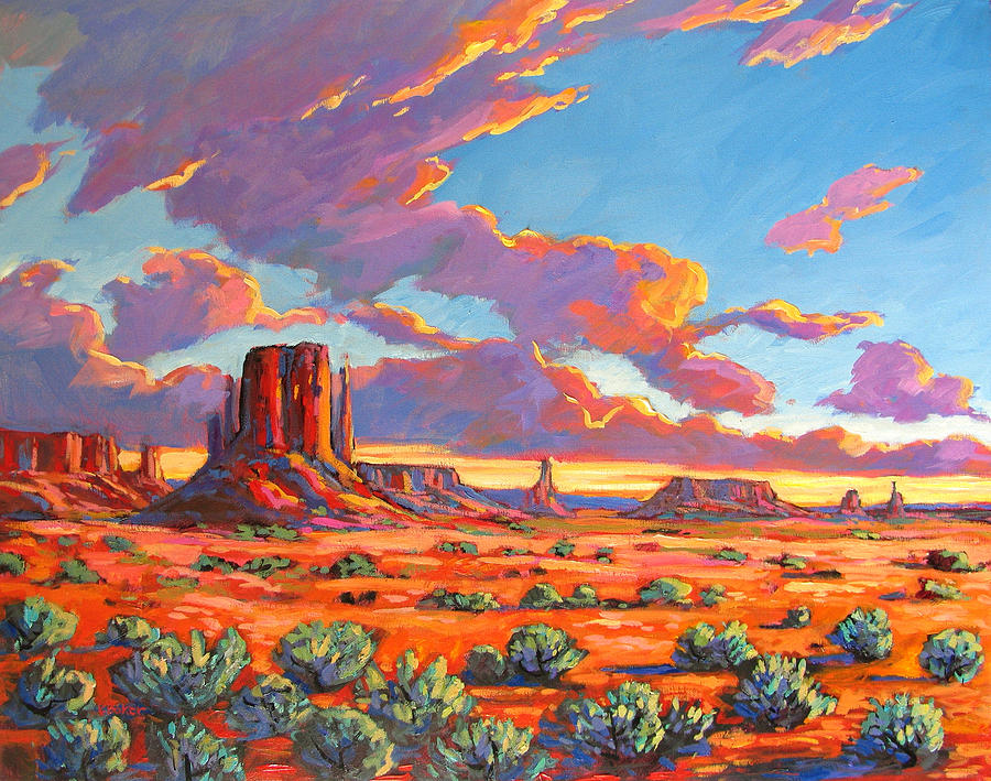 Baker Painting - Monument Valley Sunset by Patty Baker