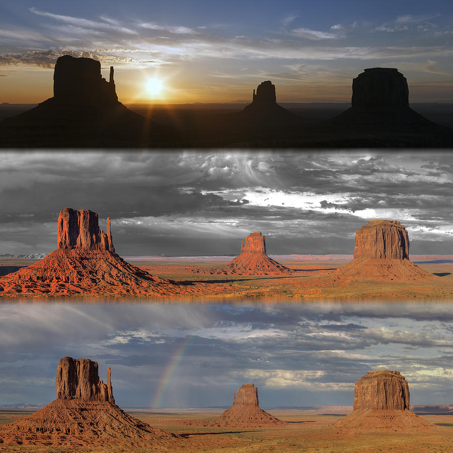 Usa Photograph - Monument Valley Triptych by Patrick Jacquet