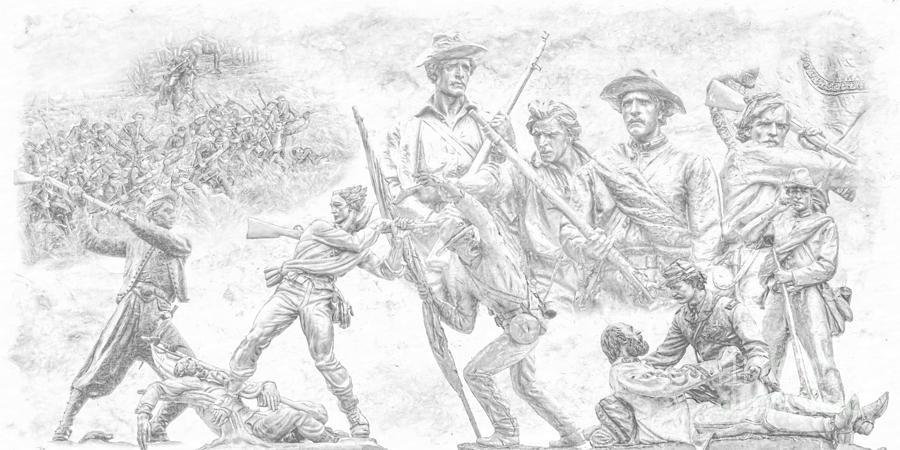 Monuments On The Gettysburg Battlefield Sketch Digital Art - Monuments On The Gettysburg Battlefield Sketch by Randy Steele