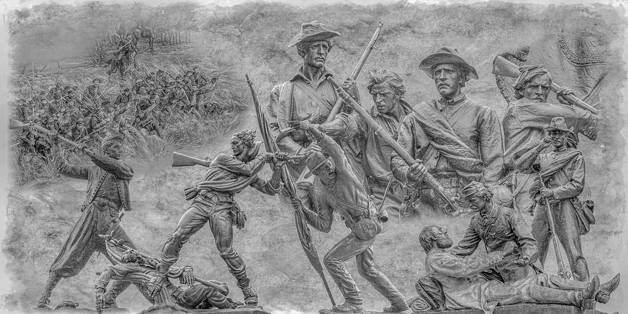 High Water Mark Digital Art - Monuments On The Gettysburg Battlefield Ver 2 by Randy Steele