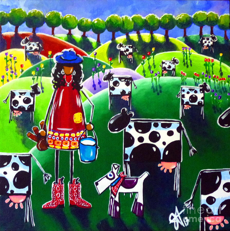 Cow Painting - Moo Cow Farm by Jackie Carpenter