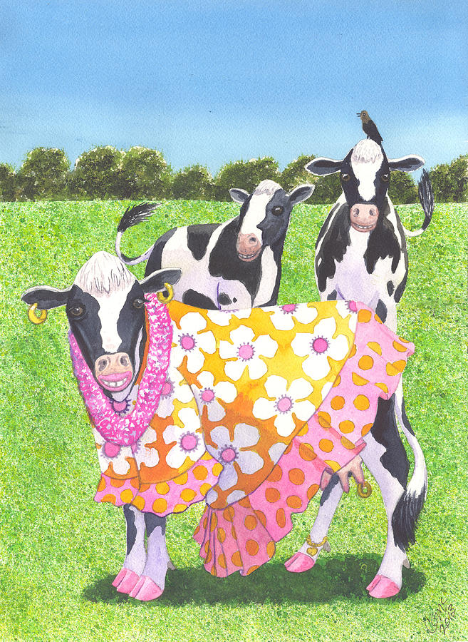 Cow Painting - Moo Moo by Catherine G McElroy