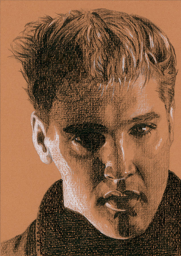 Elvis Drawing - Moody Blue by Rob De Vries