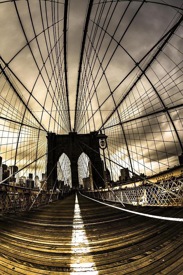 Brooklyn Bridge Photograph - Moody Brooklyn Bridge by Chris Halford
