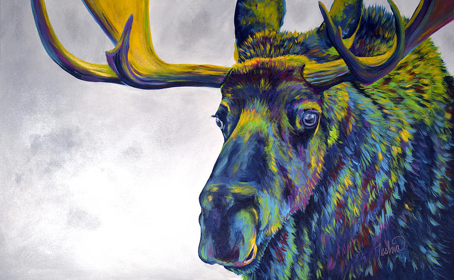 Moose Painting - Moody Moose by Teshia Art