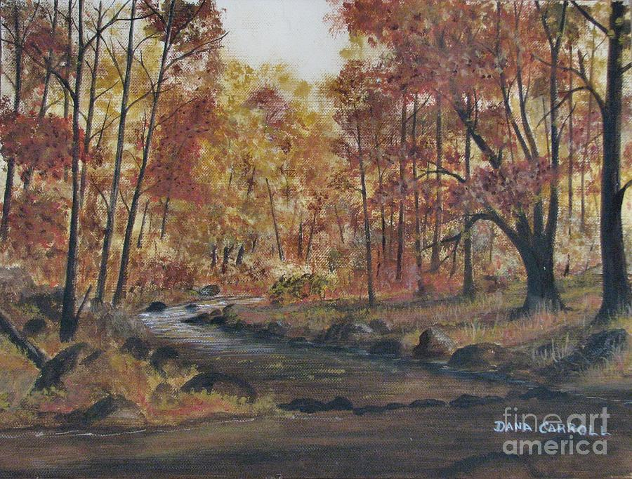 Fall Painting - Moody Woods in Fall by Dana Carroll