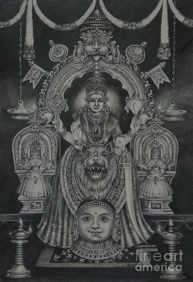 Hindu Goddess Drawing - Mookambika Devi by Asha Sasikumar
