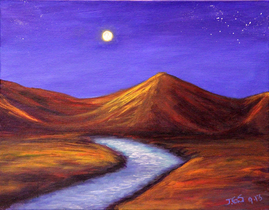Landscapes Painting - Moon And Cygnus by Janet Greer Sammons