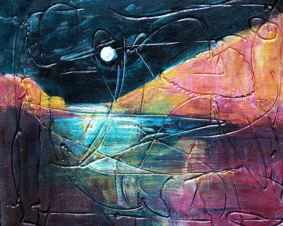 Abstract Painting Painting - Moon And Lagune by Betty Pieper
