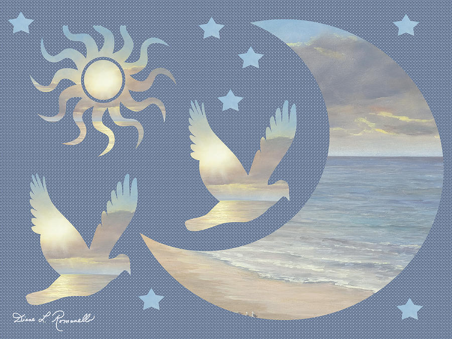 Moon Painting - Moon And Stars by Diane Romanello