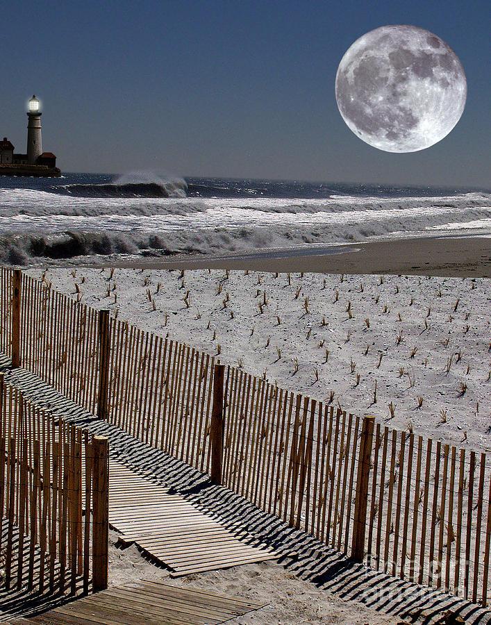 Water Digital Art - Moon Bay by Keith Dillon