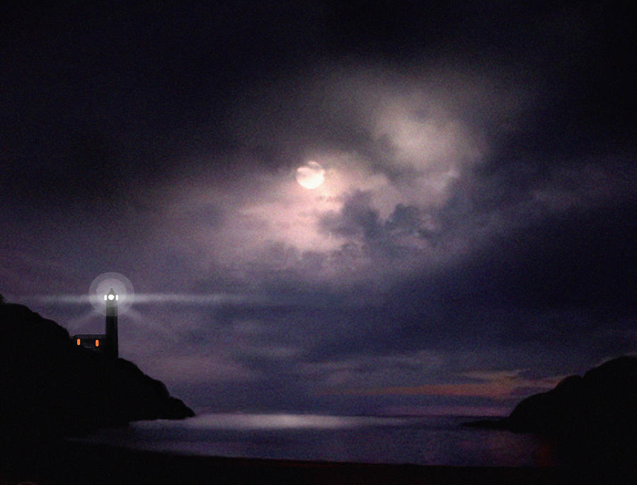 Lighthouse Painting - Moon Bay by Robert Foster