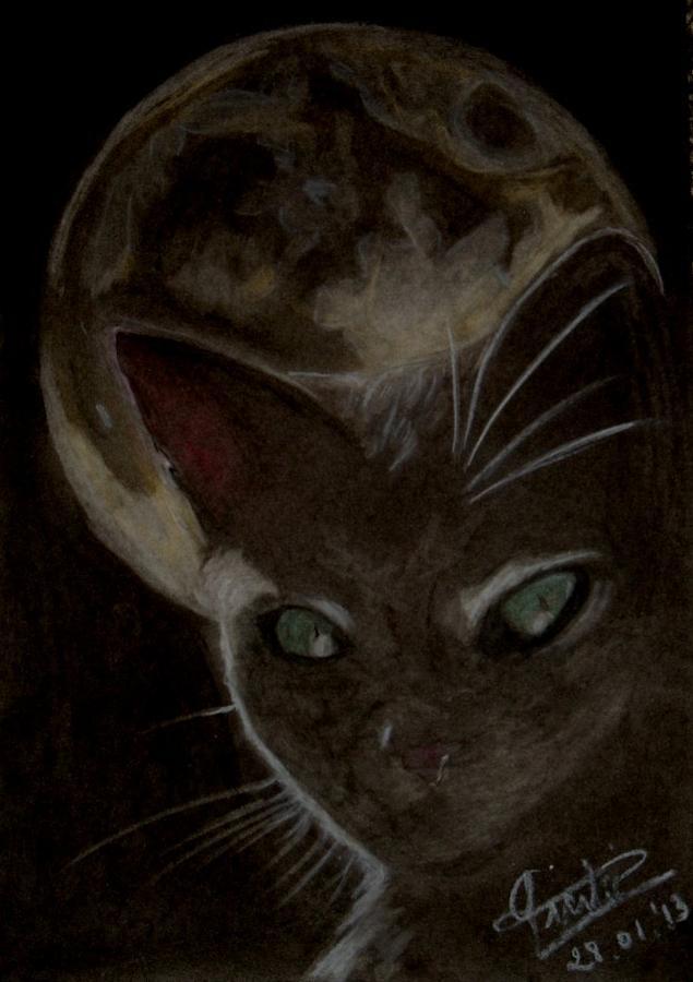 Cat Pastel - Moon Cat by Conny Pierlot