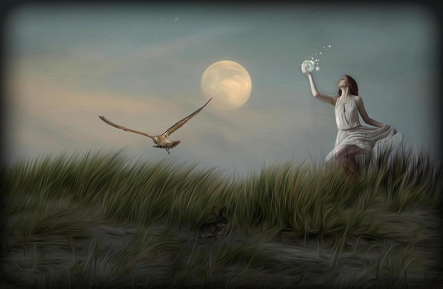 Woman Digital Art - Moon Child by Hazel Billingsley