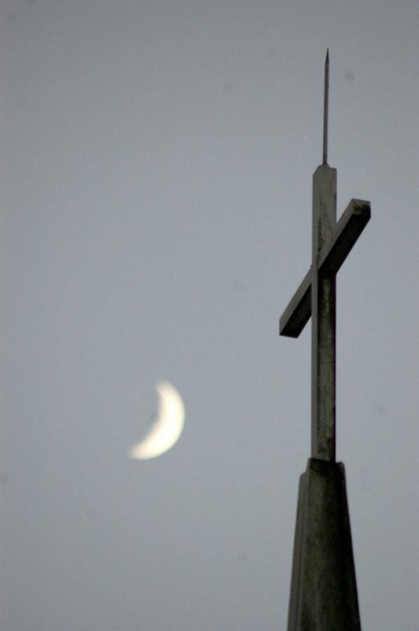 Cresent Photograph - Moon Cross by Beverly Hammond