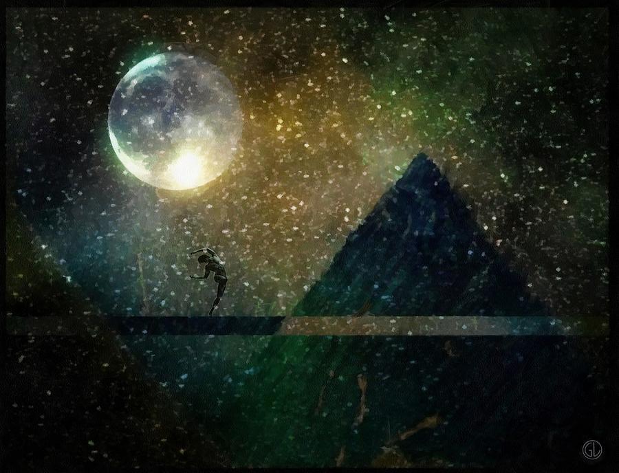 Abstract Digital Art - Moon Dance by Gun Legler